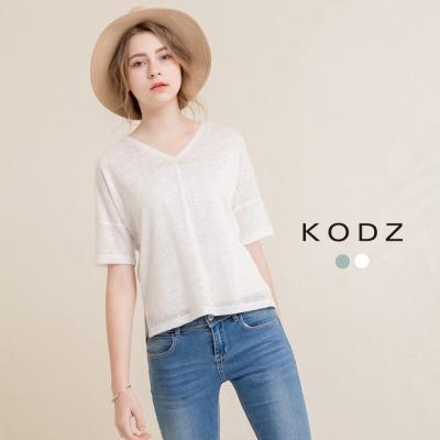 東京著衣-KODZ 微光感簡約V領針織衫(共二色)