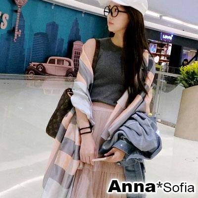 【滿額再75折】AnnaSofia 光澤柔滑格紋 亮緞面仿絲披肩絲巾圍巾(粉灰系)