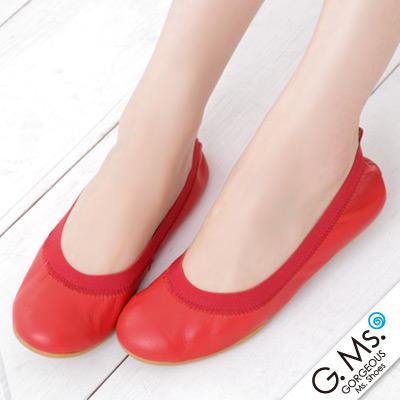 【G.Ms.】旅行女孩II‧素面鬆緊口全真皮可攜式軟Q娃娃鞋(附專屬鞋袋) ‧紅色