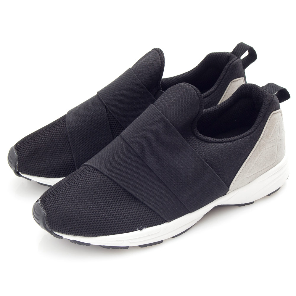 Camille's 韓國空運-正韓製-網布鬆緊繃帶造型運動休閒鞋-黑色
