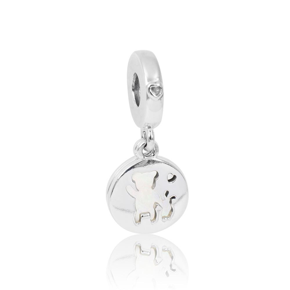 Pandora 潘朵拉  垂墜琺瑯小熊與兔子 純銀墜飾 串珠
