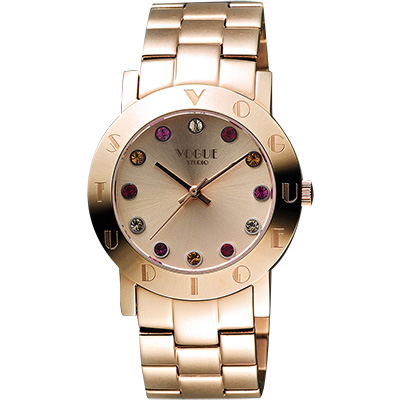 VOGUE 繽紛彩色晶鑽腕錶-玫塊金/36mm