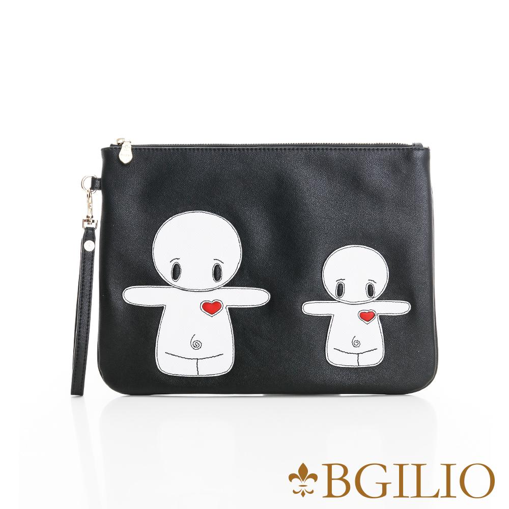 義大利BGilio-俏皮童趣造型萬用包(融情雪人-小款)-黑色2243.003-05