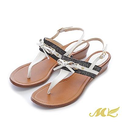 MK-台灣真皮-海軍風蝴蝶結T型夾腳低跟涼鞋-白色