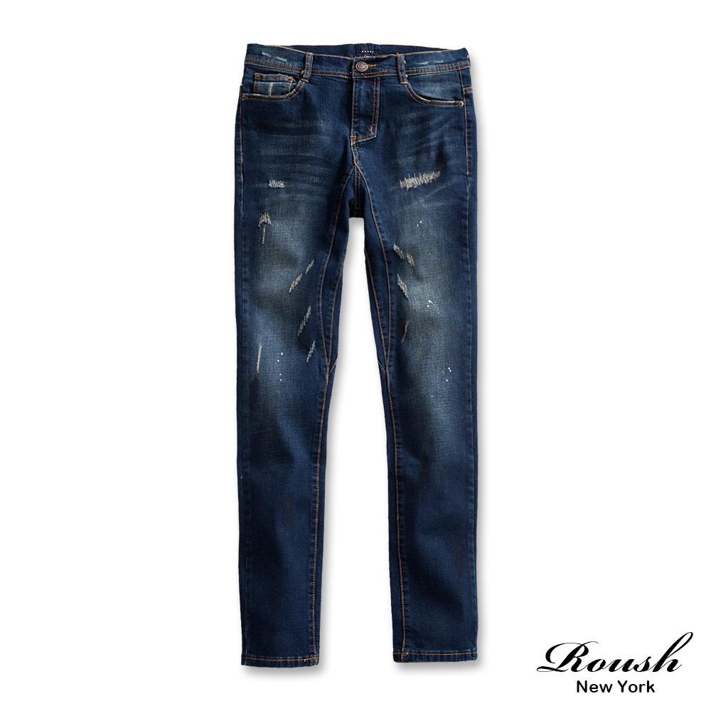 ROUSH (Skinny)韓版噴漆刷痕窄管單寧褲