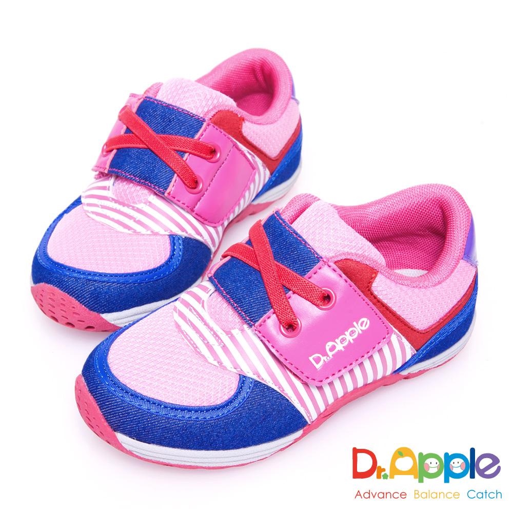Dr. Apple 機能童鞋 條紋牛仔布俐落西部風童鞋款 粉