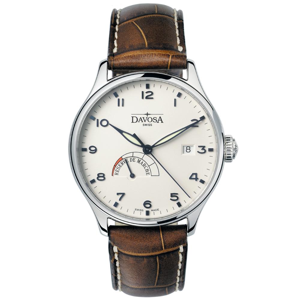 DAVOSA Classic 動能儲存機械腕錶-銀/白40mm