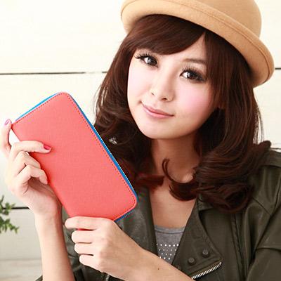 【Miyo皮夾】馬卡龍雙色經典拉鍊長夾(橘藍)