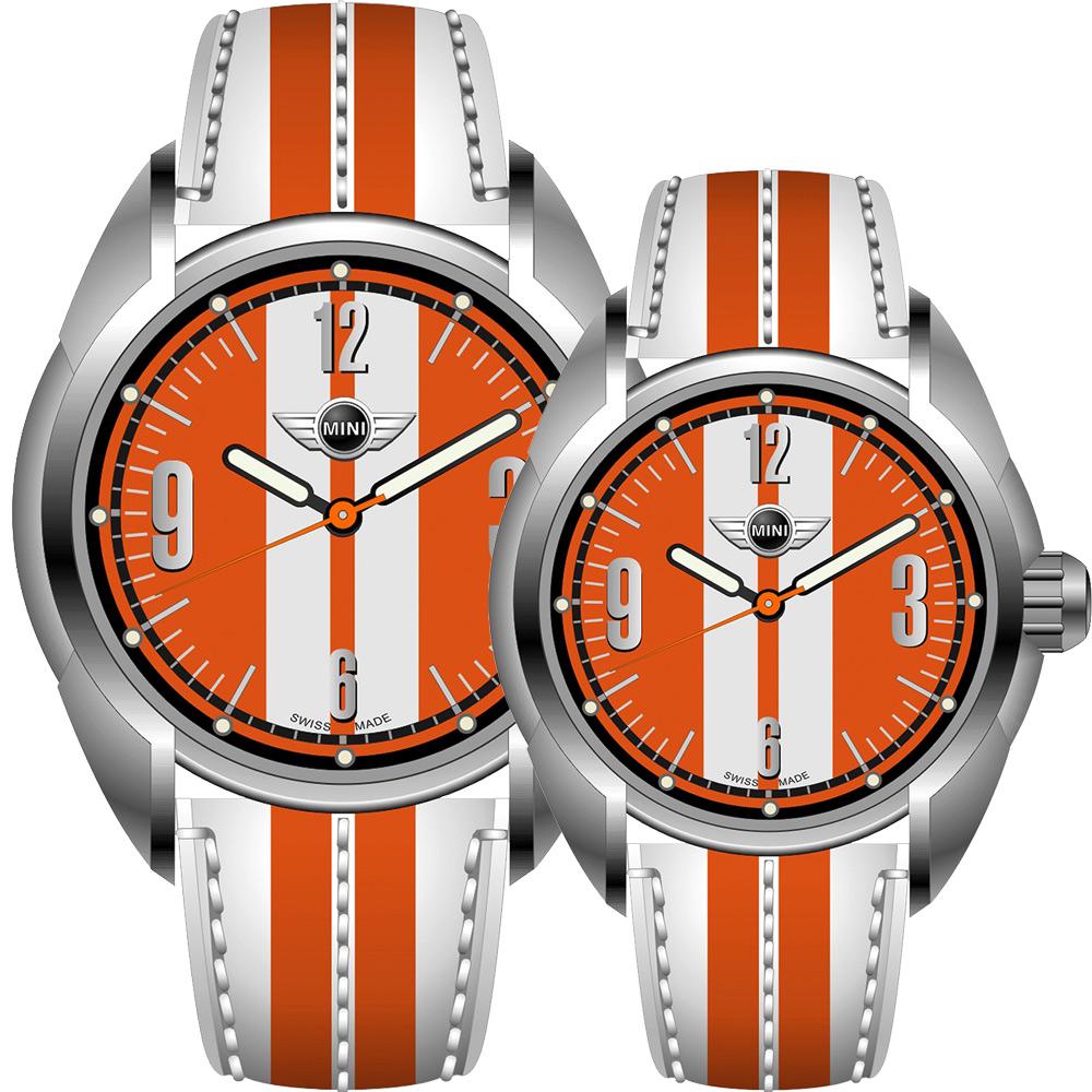 MINI Swiss Watches   休閒運動造型對錶-橘/45+38mm