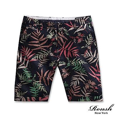 Roush 麻料設計時裝花紋短褲(2色)