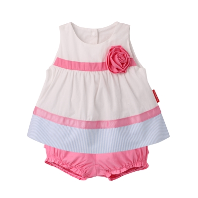 baby童衣 無袖梭織甜美上衣裙+短褲 2件套 61154