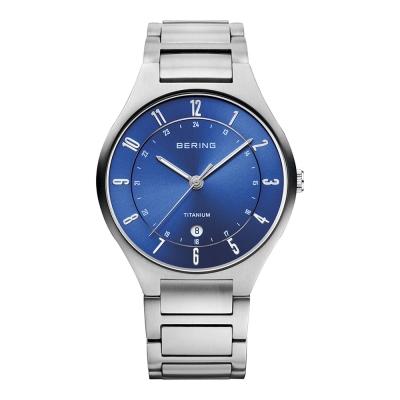 BERING- 日期顯示鈦合金屬錶系列 藍寶石鏡面 銀x北歐藍39mm