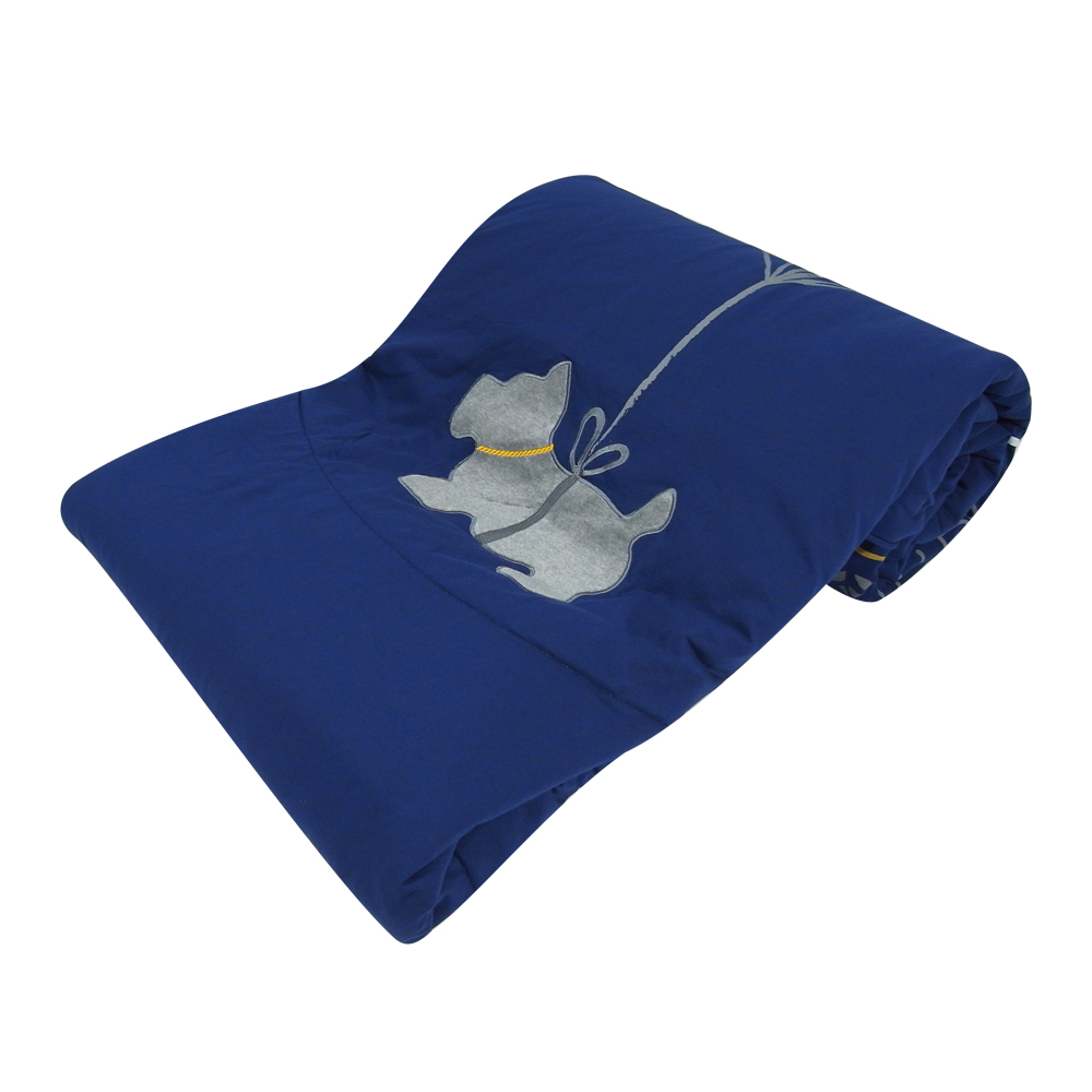 Yvonne Collection 氣球狗 5x7呎貼布繡單人四季被-寶藍色