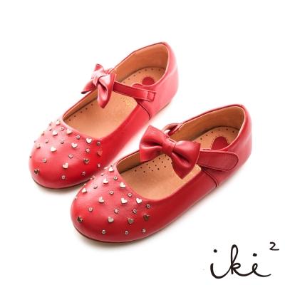 iki2童鞋-質感真皮愛心鉚釘娃娃鞋-熱情紅