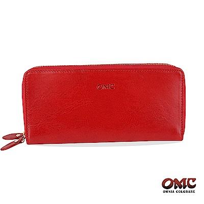 OMC 原皮系列-植鞣牛皮雙拉鏈25卡透明窗雙隔層零錢長夾-紅色