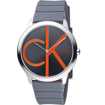 Calvin Klein minimal 大 ck 經典元素時尚腕錶-灰/40mm