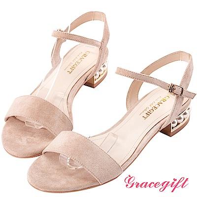 Grace gift-絨布珍珠鑲金一字涼鞋 杏