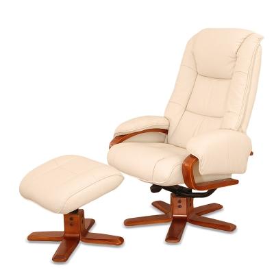 Sun-Pin-Steward史都華伯爵半牛皮躺椅-腳凳-白色