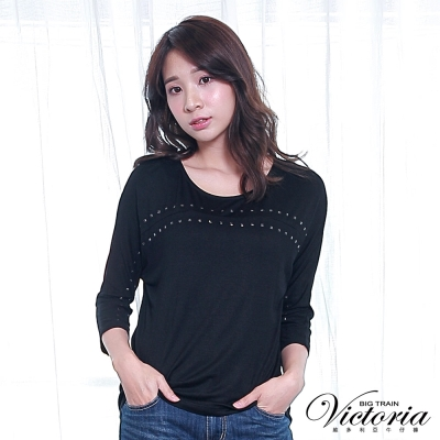Victoria 方型貼片落肩寬鬆七分袖-女-黑色