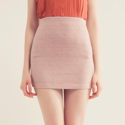 AIR SPACE 簡約格紋包臀短裙(粉紅)