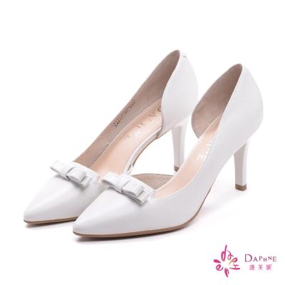 達芙妮DAPHNE-都會首選側空蝴蝶結尖頭高跟鞋-好感米白