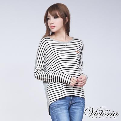 Victoria 條紋寬鬆上衣-女-黑白條