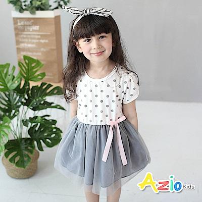Azio Kids 童裝-洋裝 綁帶點點網紗短袖洋裝(白)
