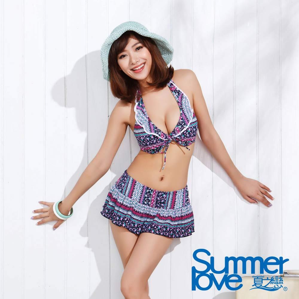 夏之戀SUMMER LOVE 時尚花卉比基尼三件式泳衣