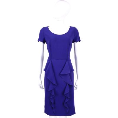 MARELLA 藍色荷葉造型短袖洋裝