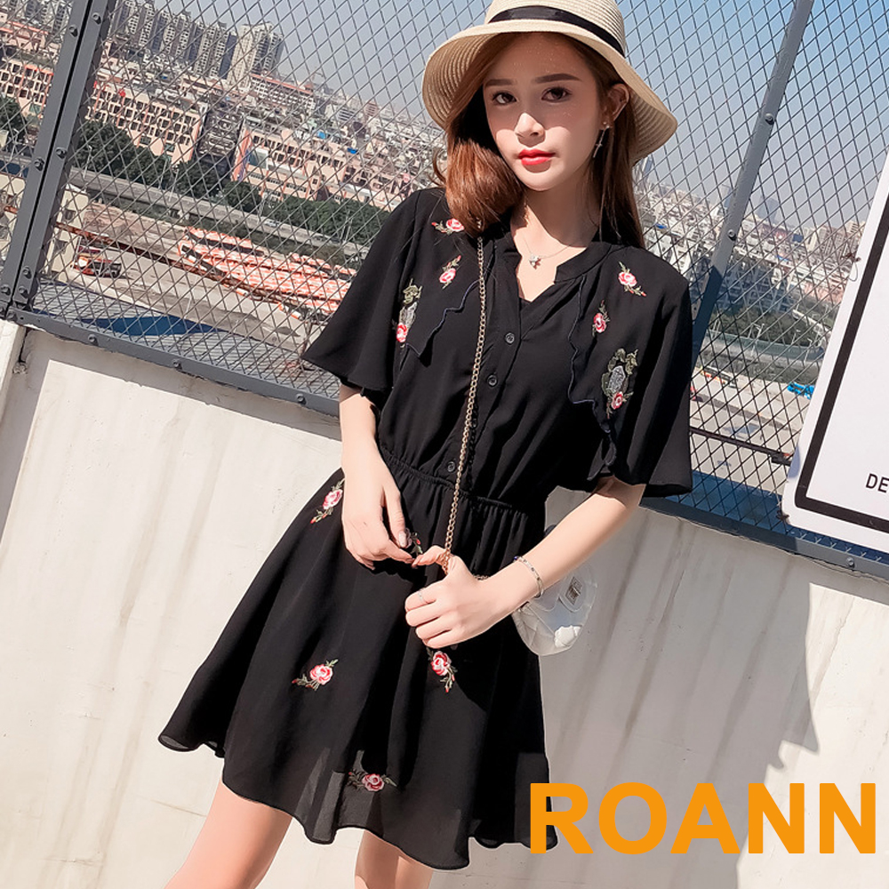 復古V領花樣刺繡雪紡洋裝 (黑色)-ROANN