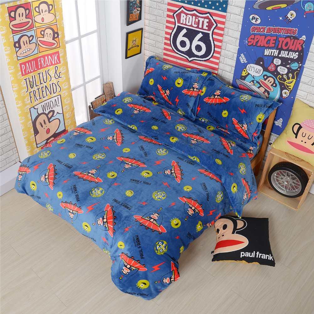 Paul Frank 開心電波 法蘭絨四件式床包組-雙人