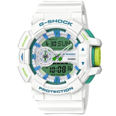 G-SHOCK立體大錶面春遊配色概念休閒錶(GA-400WG-7)綠面X白51.9mm