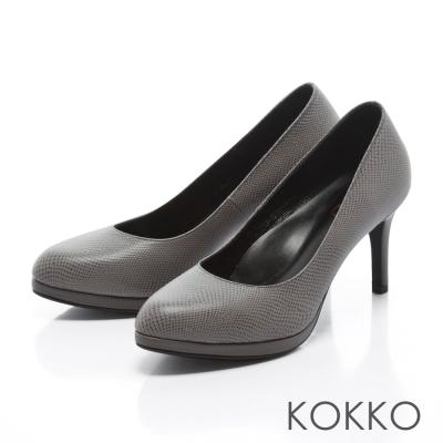 KOKKO - 復刻主義素面真皮手工高跟鞋-藕灰