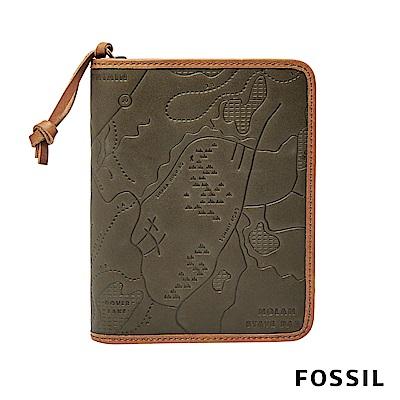 FOSSIL TRAVEL 地圖真皮護照夾拉鍊款-綠色