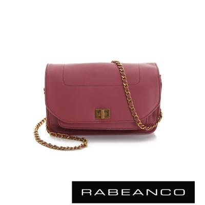 RABEANCO 迷時尚牛皮系列鍊帶雙層轉釦方包(大) - 酒紅