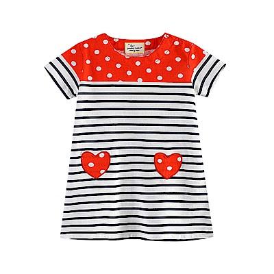 歐美春夏純棉兒童短袖長版T-條紋愛心