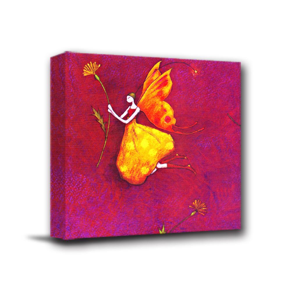 美學365 - 單聯式無框藝術掛畫時鐘 - 花蝴蝶女孩40x40cm