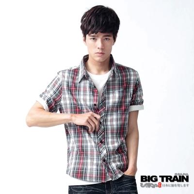 【BIG TRAIN】紅綠格紋短袖襯衫