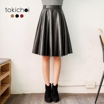 東京著衣 多色時尚街頭風質感皮革及膝裙-S.M.L(共三色)
