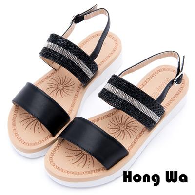 Hong Wa - 民俗圖騰風格金屬時尚涼鞋 - 黑