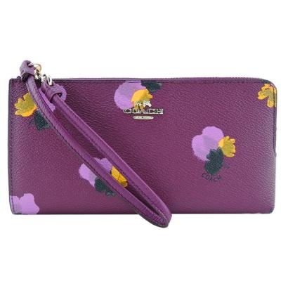 COACH-立體馬車LOGOPVC印花L型拉鍊長夾-玫紫