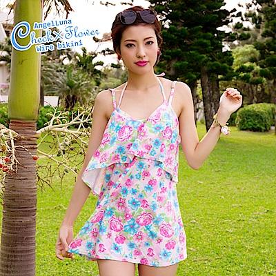 【AngelLuna日本泳裝】印花格紋三件式比基尼泳衣-粉色