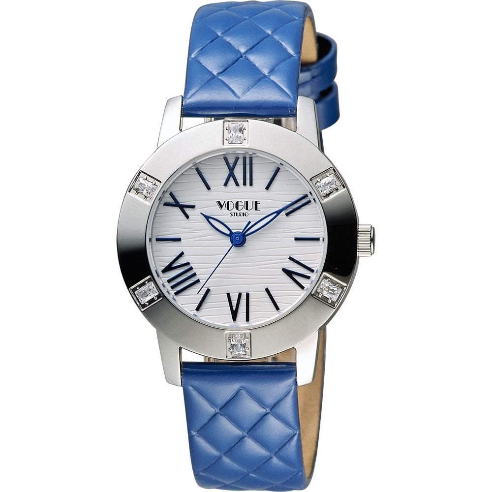 VOGUE 時尚菱格紋羅馬腕錶-白x藍/34mm