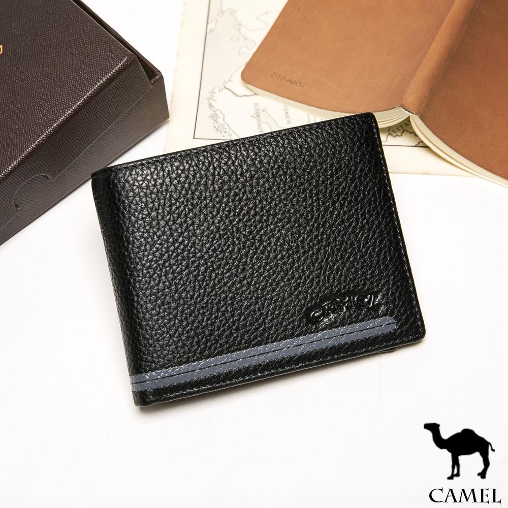 CAMEL - 爵品絲印款牛皮12卡2照短夾-共2色