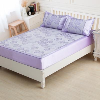 米夢家居-軟床專用-紫戀玫瑰超細絲滑紙纖冰絲涼蓆床包二件組-單人加大3.5尺