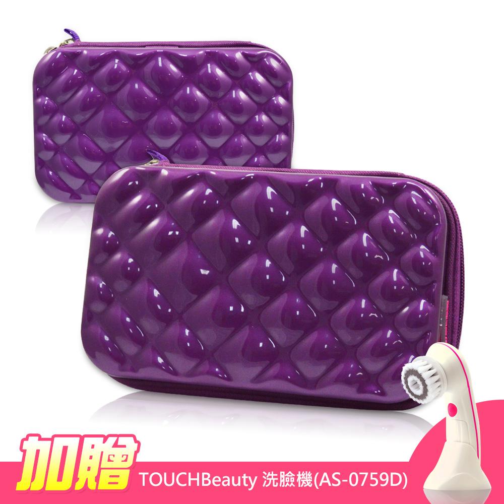 ELIYA 菱格紋-多功能過夜包//化妝包/收納包(紫色)