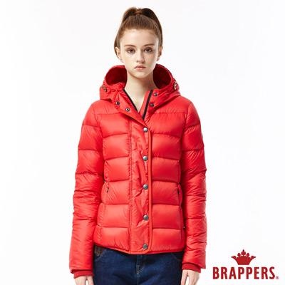 BRAPPERS-女款-滾邊連帽羽絨外套-紅