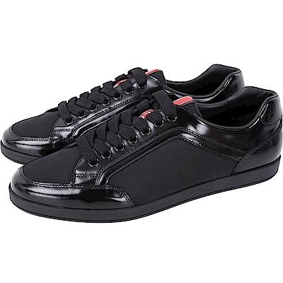 PRADA 拼接漆亮小牛皮綁帶運動鞋(男鞋/黑色)