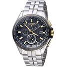 (無卡分期12期)CITIZEN 勁量流線電波萬年曆限量錶(AT9095-50E)-黑色x金色