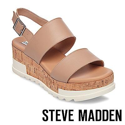 STEVE MADDEN-BRENDA 二字帶軟木雙色楔形涼鞋-裸膚